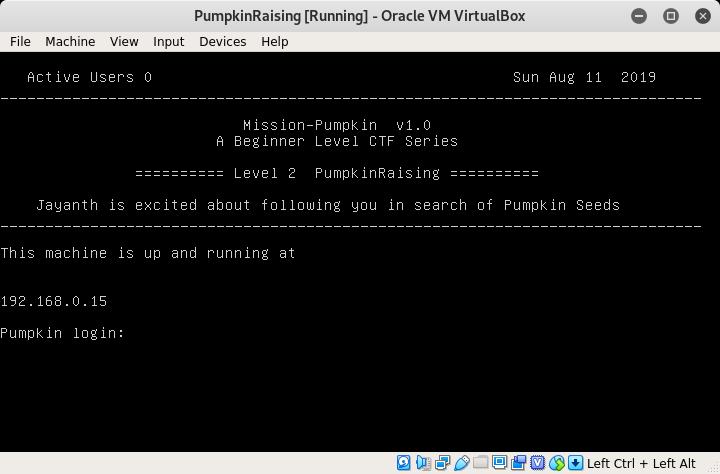 PumpkinRaising VM Welcome Screen